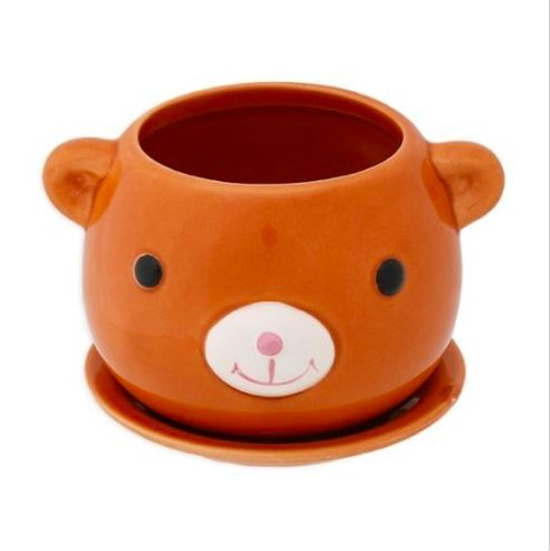 Animal Bear Ceramic Flower Pot / Bear Plant Pot / Vase with saucer (Bear Pot)