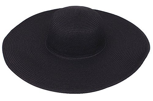 Nsstar Women s Ridge Wide Floppy Brim Summer Beach Sun Hat Straw Cap Party Garden Travel (Wide Brim: Black)