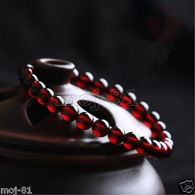 - Genuine Natural 5mm Red Garnet Crystal Round Beads Stretchy Bracelet Bangle