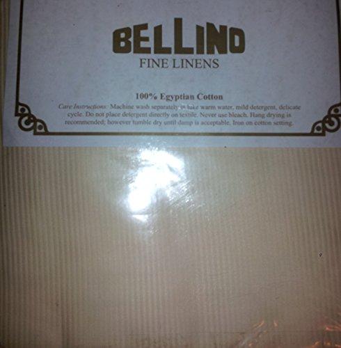 Bellino Fine Italian Linens King IVORY Striped Flat Sheet 100% Egyptian Cotton ()