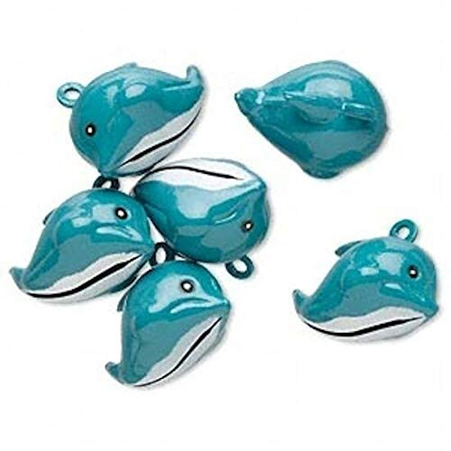 (6 Adorable Enameled Turquoise Blue Brass 25x18mm Dolphin Bell Charms Jewelry Making Charms and Pendants)
