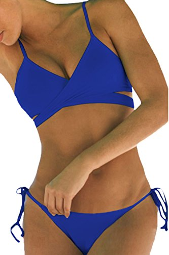Sovoyant Women Swim Suits Bikini Set Swimsuit Blue Large by Sovoyontee