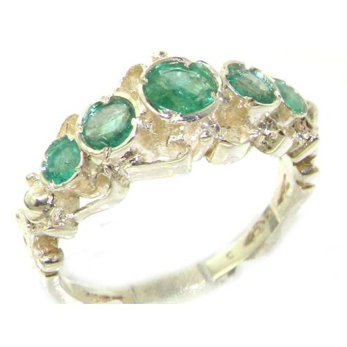 925 Sterling Silver Real Genuine Emerald Womens Band Engagement Ring - Size 6