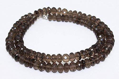 GemAbyss Beads Gemstone Smokey Quartz Gemstone Beads Necklace/100% Natural Gemstone Size 6.5x7.5 mm Approx/Faceted roundell Beads Necklace 190 Cts. ()