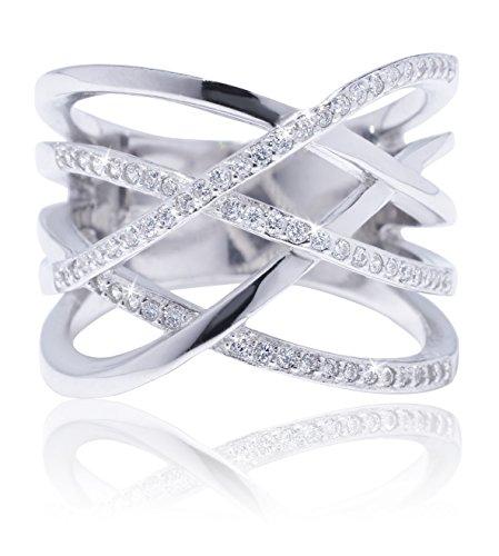 Double Silver Cross Sterling (De Lelu Sterling Silver Criss Cross Crossover Cubic Zirconia Ring, Size 7)