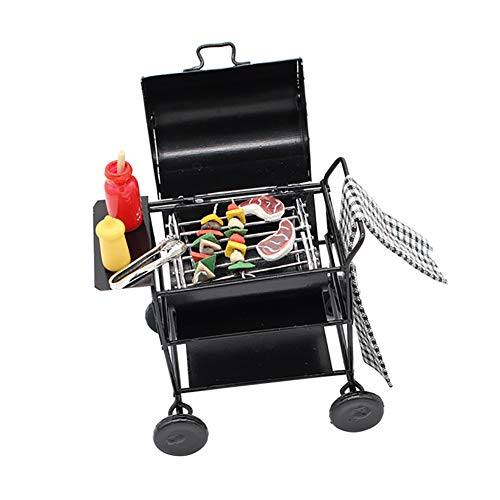 856store 1:12 Dollhouse Kitchen BBQ Grill Miniature Oven Model Kids Pretend Play Toy