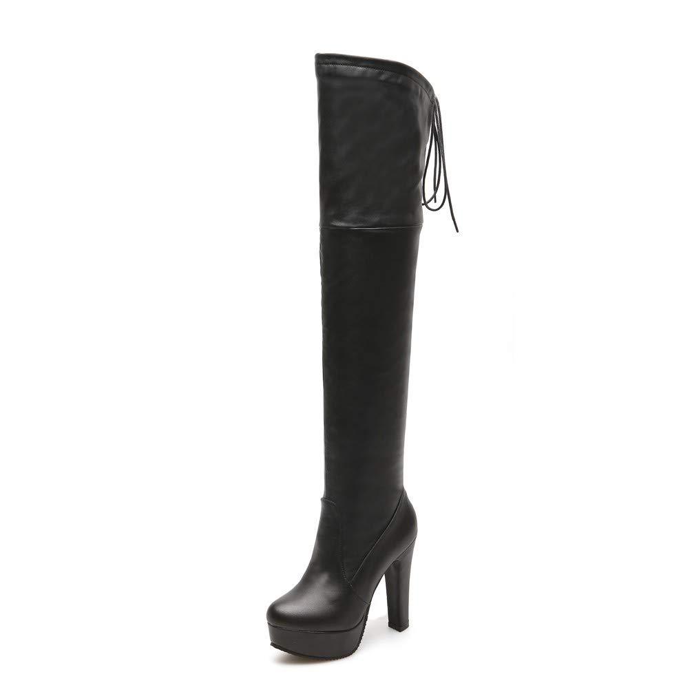 Bottes | Femme | Bottines | Bottes Bottes au Genou | avec des Bottes épaisses et Un Grand Volant Black 5eb6bec - therethere.space
