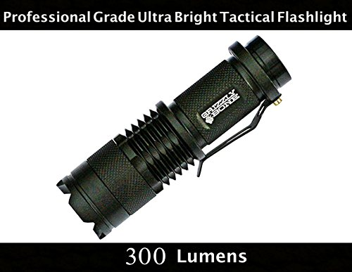 NEW Professional Grade Ultra Bright Tactical Flashlight 300 Lumen LED Water Resistant Zoomable Spotlight Best Tool For Boy Scouts Bugout Bag Power Outage Great Camping Lantern Outdoor Survival Gear (Grizzlies Gear)