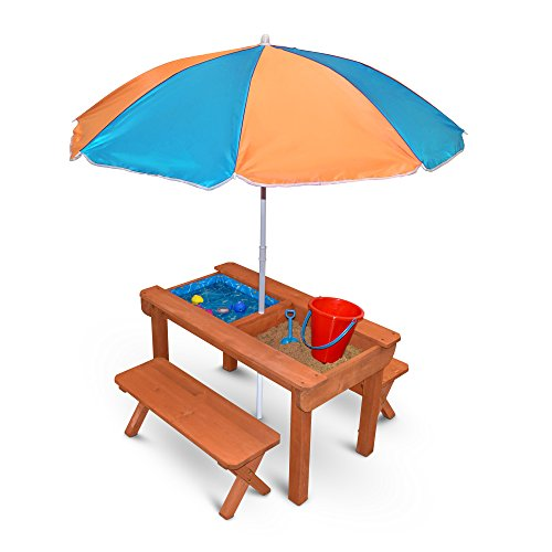 Back Bay Play Kids Sand and Water Table Premium Wooden Indoor Outdoor Convertible Picnic Table - Activity Sensory Toy Playset Promotes Learning - Removable Lids for Sandbox & Splash Pool (Natural)