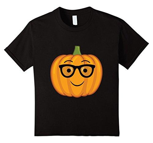Kids Nerdy Pumpkin Emoji Nerd Glasses Halloween Shirt 12 (Dorky Girl Halloween Costumes)