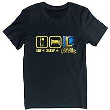 Men's Eat Sleep And Play LOL League Of Legends Logo T-shirts Black M