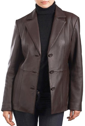 (BGSD Women's Crystal New Zealand Lambskin Leather Blazer - L Brown)