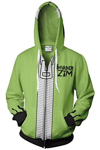 COSMOVIE Mens Invader Zim Gir Doom Hoodies Adult Casual Hooded Zip Up Sweatshirt (M, Green) -