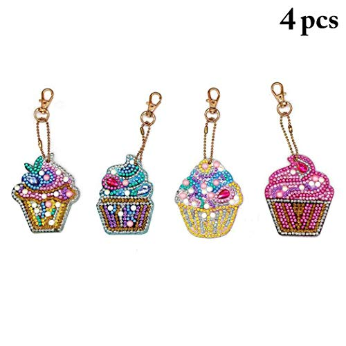 Fansport 4 Sets DIY Keychain Ice Cream Mini Diamond Painting Keychain Key Ring for Kids