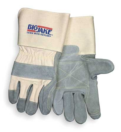 Big Jake Leather - Memphis Glove Big Jake Double Leather Palm Index Finger and Thumb, Sewn Kevlar Gloves, w/4-1/2-Inch Gauntlet Cuff, XL, 1-Pair