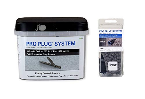 Pro Plug System for Trex Enhance Clam Shell Decking, Combo Kit, 375 Plugs and 375 Epoxy Screws and PVC Tool for 100 sq ft