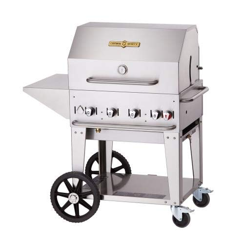 Crown Verity CV-MCB-30PKG 5PC Grill Package with CV-MCB-30-LP Liquid Propane Grill Removable End Shelf BBQ Cover Bun Rack and Roll Dome in Stainless