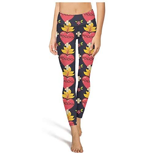 (juiertj rt Long Climbing Sacred Heart Cross Rose Leggings Beautiful Women Ultra Soft Activewear Pants for Yoga)