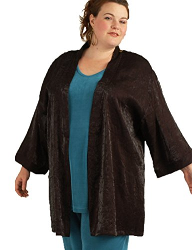 Peggy Lutz Plus Women's Tunic Length Kimono Black Crinkle Crash - (34/36)