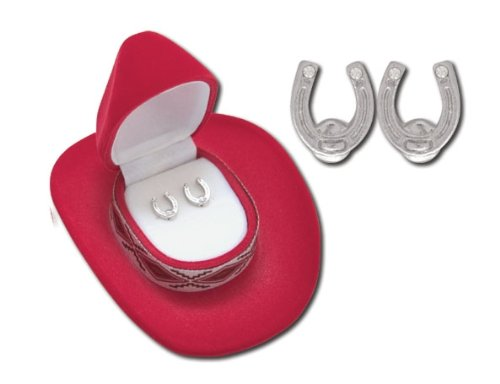 7c1e15f4685 Western Crystal Horse Shoe Earrings in Red Cowboy Hat Gift Box - Buy Online  in Oman.