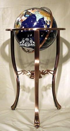 Unique Art Since 1996 37 3-Leg Copper Floor Standing Blue Lapis Gemstone Globe
