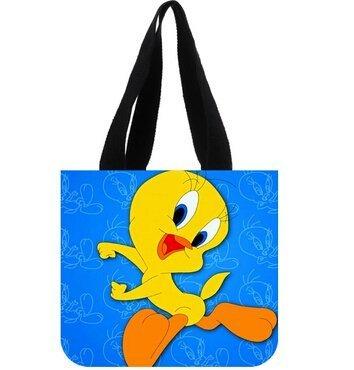 Women's Handbag Custom Cartoon Tweety Bird Canvas Tote Bag Shoulder bag (Tweety Handbag)