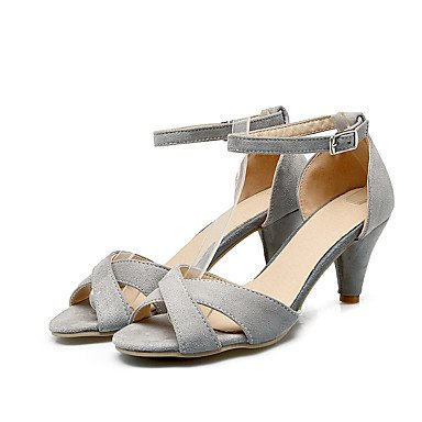 LvYuan Tacón Stiletto-Zapatos del club-Sandalias-Vestido Informal Fiesta y Noche-Semicuero-Negro Rosa Gris Melocotón Black