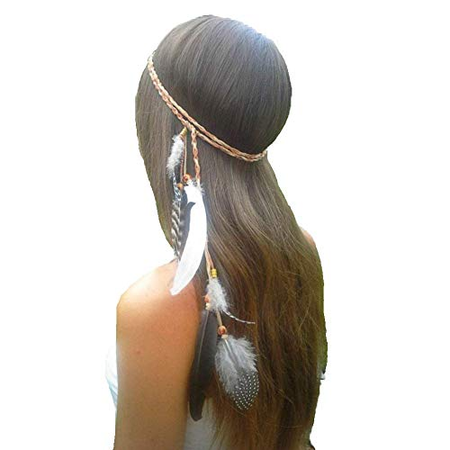 Dress Like Hippie Halloween (ZWZCYZ Feather Headband Women Girls Boho Indiana Peacock Feather Fascinator Headpiece with Bead Braided Beach Hair head band Headband Halloween Fancy Dress Hippie Festivel Headdress (Beige with)