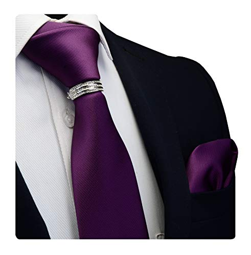 GUSLESON Brand Men's Solid Dark Purple Tie Necktie and Pocket Square Collar Hoop Accessories Sets (0799-04-S)