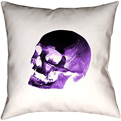 ArtVerse Katelyn Smith 14 x 14 Spun Polyester Double Sided Print with Concealed Zipper /& Insert Red Black Skull Pillow Blue