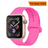YANCH Compatible with for Apple Watch Band 38mm 40mm, Soft Silicone Sport Band Replacement Wrist Strap Compatible with for iWatch Nike+,Sport,Edition,S/M,Barbie Pink