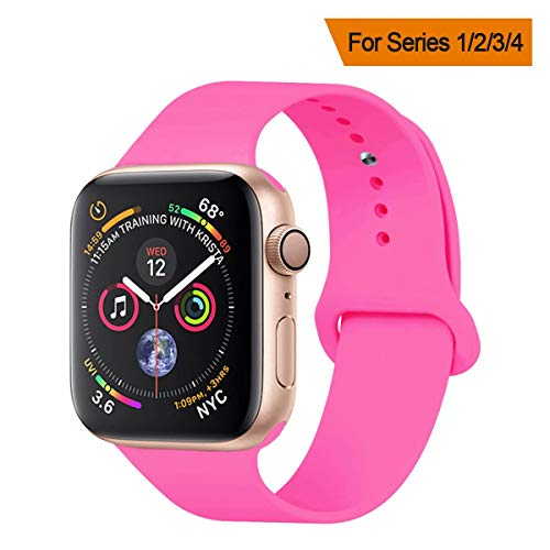 YANCH Compatible with for Apple Watch Band 42mm 44mm, Soft Silicone Sport Band Replacement Wrist Strap Compatible with for iWatch Nike+,Sport,Edition,M/L,Barbie Pink
