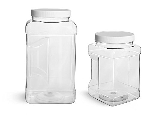 [1 Gal. Clear PET Square Gripped Wide Mouth Jars w/ White PE Lined Caps (12 Case)] (Pe Lined Cap)