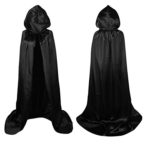 Unisex Death Hooded Cape Full Length Cloak Halloween Robe Masquerade Black T007BK