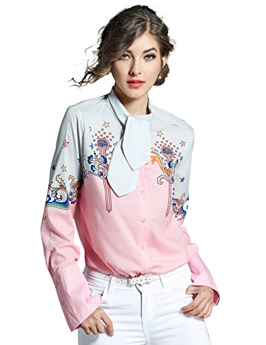 Paisley Print Bell - Women Casual Bell Sleeve Tie Neck Button up Paisley Print Blouse Shirt Tops Pink