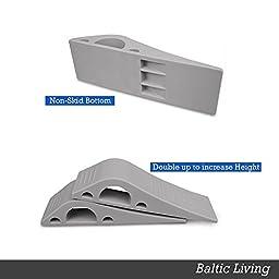 Door Stop – 4 Pack – BONUS 4 Holders – Flexible Grey Rubber Door Stopper Easily Wedges Door Gaps up to 1 Inch – Baltic Living Doorstop