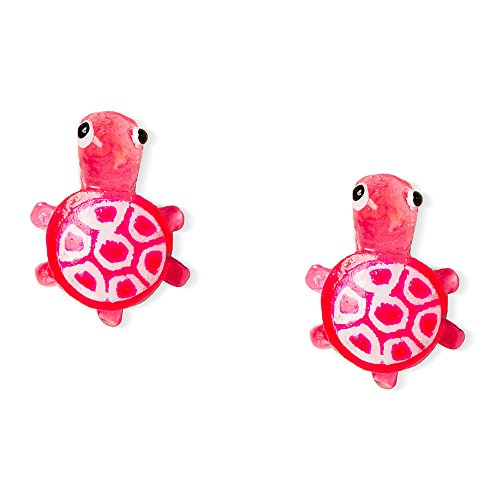 Claire's Accessories Girls Sterling Silver Pink Turtle Stud Earrings