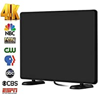 120+Miles Ultra Amplified TV Antenna Indoor - AliTEK Upgraded Dightal HDTV Antenna Amplifier TV Signals High Reception Easy Installation Antenna for TV 4K 1080P Channels Free Gain 16Ft Coax Cable
