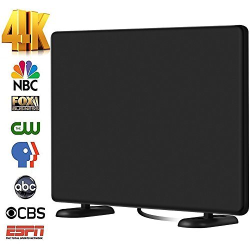 AliTEK 120+Miles Ultra Amplified TV Antenna Indoor - Upgraded Dightal HDTV Antenna Amplifier TV Signals High Reception Easy Installation Antenna for TV 4K 1080P Channels Free Gain 16Ft Coax Cable - 4 Channel Coaxial