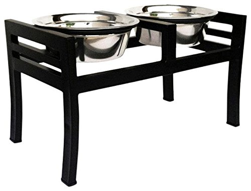 Moretti Elevated Dog Diner - 12' - 3 Qt Bowls - Black