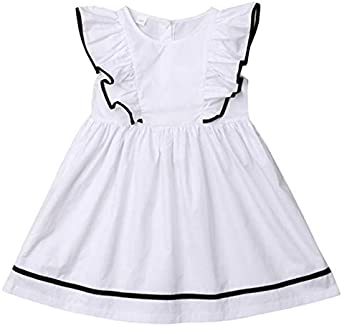 TOOGOO Moda Vestido Para Nina Bebe Vestido Informal De Manga Corta ...