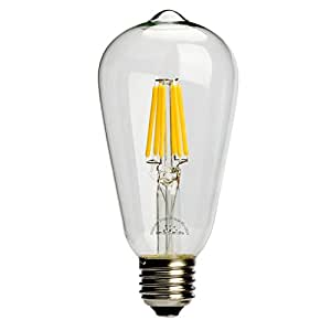 Leadleds 6W Edison Style Vintage LED Filament Light Bulb, 2700k Soft White 610LM Non-dimmable, E27 Medium Base Bulb, ST21(ST64) Antique Shape, 60W Incandescent Equivalent