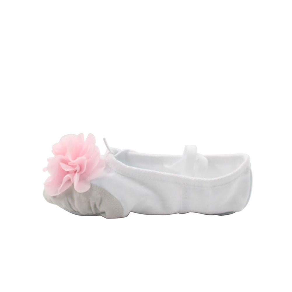 Kid Girls Canvas Ballet Dance Yoga Shoes with Flower