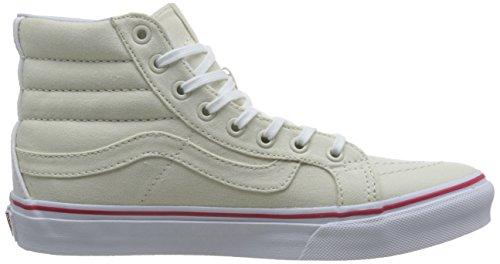 Vans Ua Sk8-Hi Slim, Zapatillas Altas para Mujer Hueso (Leather Canvas Bone/true White)