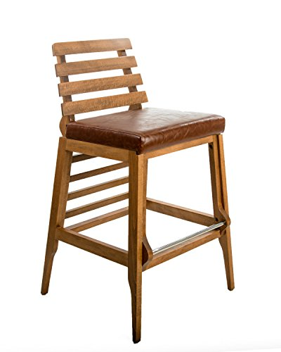 30-Inch Counter Height Wooden Barstool with Backrest (Brown Leather Seat) Review
