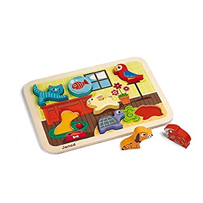 Janod Chunky Puzzle - Colorful 7 Piece Wooden Pet Themed Jigsaw Puzzle - Encourages Shape Recognition, Dexterity, and Language Development - Toddlers 18 Months+ and Preschool Kids: Toys & Games