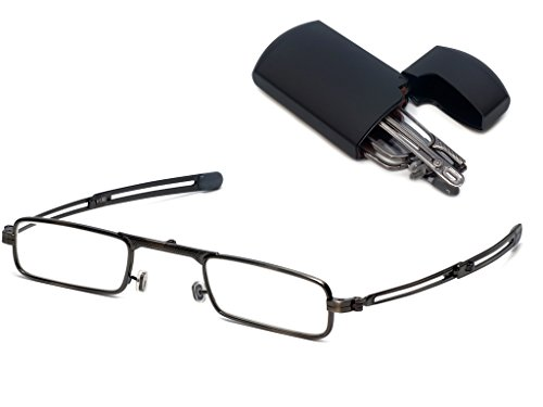 (Original Patented Mini-Foldtm Folding Reading Glasses with Flip Top Hard Case, Pewter w/Black Case +2.50)
