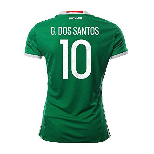 現実的灰引退したG. DOS SANTOS #10 Mexico Women's Home Jersey COPA America 2016(Authentic name & number)/サッカーユニフォーム メキシコ ホーム用 G. ドス?サントス レディース向け