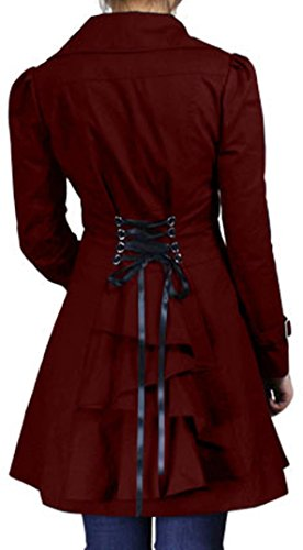 ((XS-28) Rainy Night in Paris - Burgundy Red Victorian Gothic Corset Vintage Style Jacket (XL))