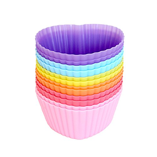 (Mirenlife Reusable and Non-stick Silicone Baking Cups/Cupcake Liners/Muffin Cup Molds in Storage Container-12 Pack-6 Vibrant Colors Heart)